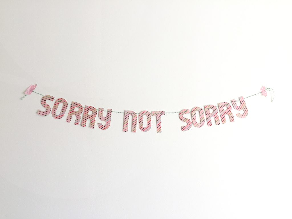sorry not sorry banner paper trail diary