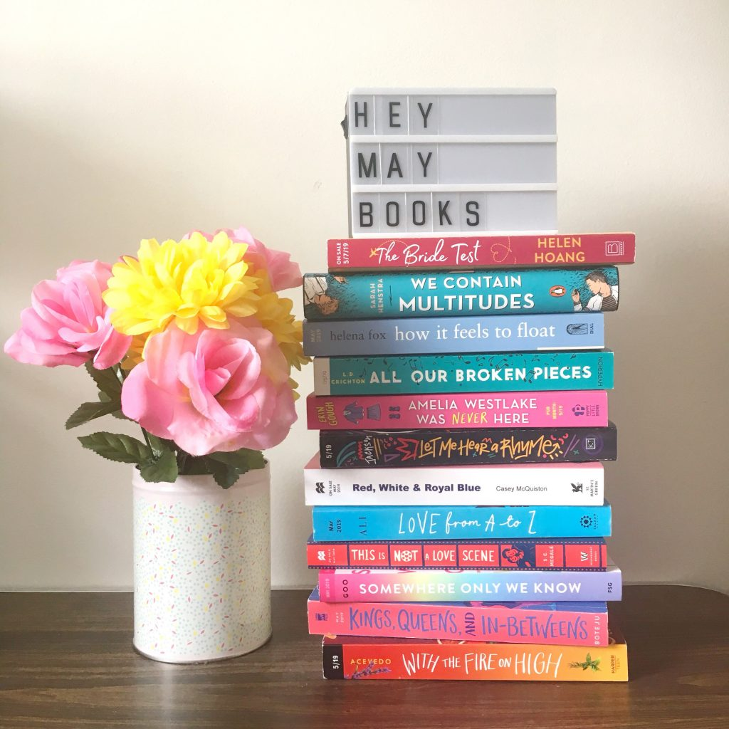 Stack of books released in May 2019 on The Paper Trail Diary